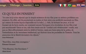 Publié en janvier 2013 les messages de soutien à Blanrue, auteur d'un film élogieux sur Faurisson http://reflets.info/lettre-ouverte-a-etienne-chouard/